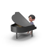 Cartoon Boy Jack Playing Piano PNG & PSD Images