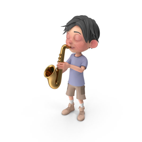 Cartoon Boy Jack Playing Saxophone PNG & PSD Images