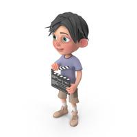 Cartoon Boy Jack Using Clapboard PNG & PSD Images