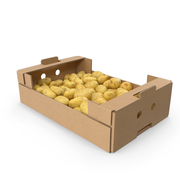 Cardboard Box with Potatoes PNG & PSD Images