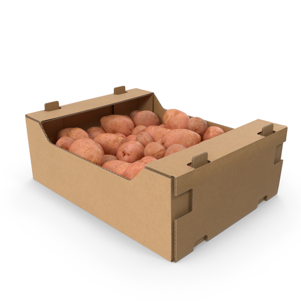 Cardboard Box with Red Potatoes PNG & PSD Images