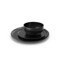 Crisp Matte Black Dinnerware PNG & PSD Images