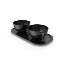 Crisp Matte Black Mugs and Platter PNG & PSD Images