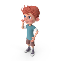 Cartoon Boy Charlie Brushing His Teeth PNG & PSD Images