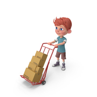 Cartoon Boy Charlie Carrying Boxes PNG & PSD Images