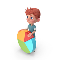 Cartoon Boy Charlie Holding Pie Chart PNG & PSD Images