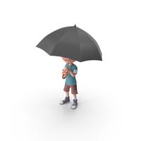 Cartoon Boy Charlie Holding Umbrella PNG & PSD Images