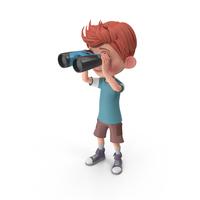 Cartoon Boy Charlie Looking Through Binoculars PNG & PSD Images