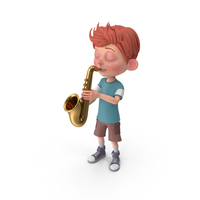 Cartoon Boy Charlie Playing Saxophone PNG & PSD Images