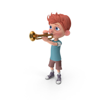 Cartoon Boy Charlie Playing Trumpet PNG & PSD Images