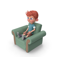 Cartoon Boy Charlie Sitting On Armchair PNG & PSD Images