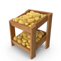 Wooden Merchandise Shelf With Clean Potatoes PNG & PSD Images