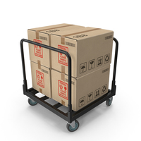 Industrial Cart of Boxes PNG & PSD Images