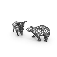 Bull & Bear Wireframe PNG & PSD Images