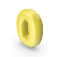 Yellow Toon Balloon Number 0 PNG & PSD Images