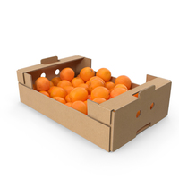 Cardboard Box With Oranges PNG & PSD Images
