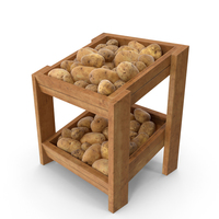 Wooden Merchandise Shelf with Potatoes PNG & PSD Images