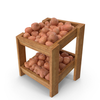 Wooden Shelf  With Red Potatoes PNG & PSD Images