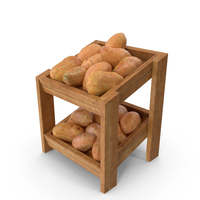 Wooden Merchandise Shelf with Sweet Potatoes PNG & PSD Images
