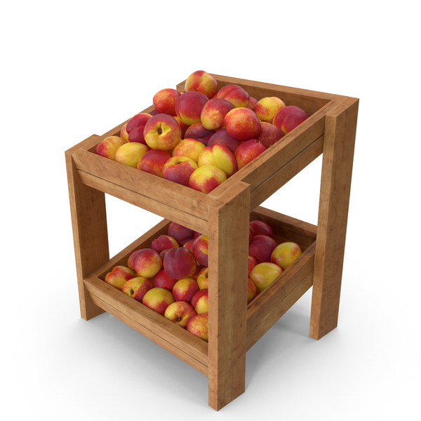 Wooden Merchandise Shelf With Nectarines PNG & PSD Images