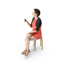 Woman Sitting with Coffee PNG & PSD Images