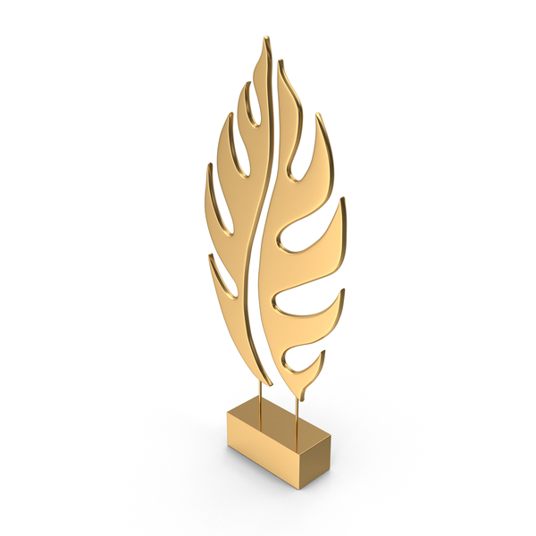 Gold Tree Leaf Sculpture PNG & PSD Images