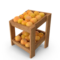 Wooden Merchandise Shelf  With Grapefruits PNG & PSD Images