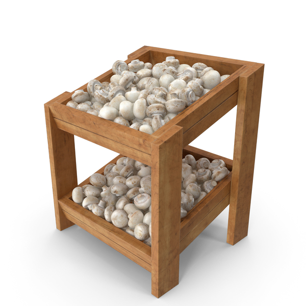 Wooden Merchandise Shelf with White Button Mushrooms PNG & PSD Images