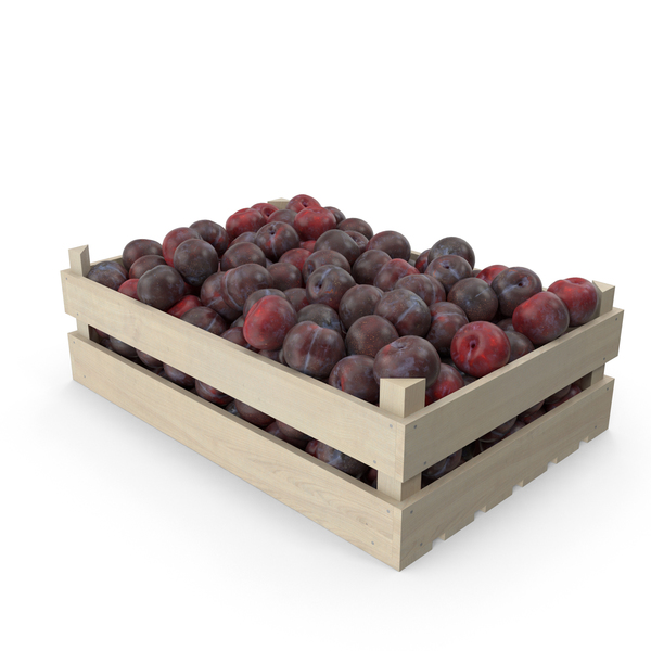 Plums in Wooden Crate PNG & PSD Images