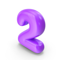 Purple Toon Balloon Number 2 PNG & PSD Images