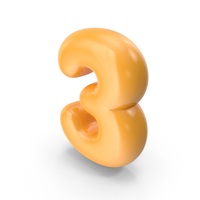 Orange Toon Balloon Number 3 PNG & PSD Images