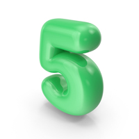 Green Toon Balloon Number 5 PNG & PSD Images