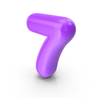 Purple Toon Balloon Number 7 PNG & PSD Images