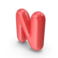 Red Toon Balloon Letter N PNG & PSD Images