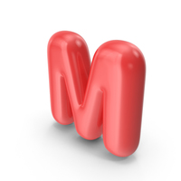 Red Toon Balloon Letter M PNG & PSD Images