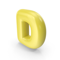 Yellow Toon Balloon Letter D PNG & PSD Images