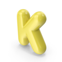 Yellow Toon Balloon Letter K PNG & PSD Images