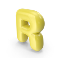 Yellow Toon Balloon Letter R PNG & PSD Images