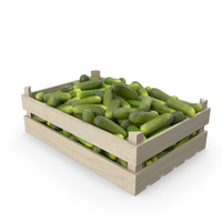Cucumbers Gherkin in Wooden Crate PNG & PSD Images