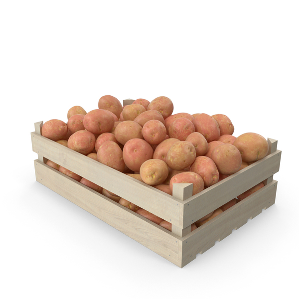 Potatoes Red in Wooden Crate PNG & PSD Images