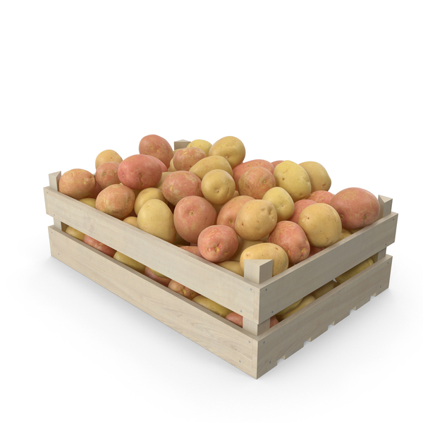 Potatoes Mix in Wooden Crate PNG & PSD Images