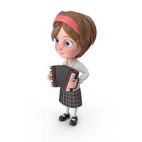 Cartoon Girl Meghan Playing Accordion PNG & PSD Images