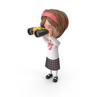 Cartoon Girl Meghan Looking Through Binoculars PNG & PSD Images