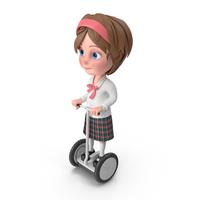 Cartoon Girl Meghan Riding Scooter PNG & PSD Images