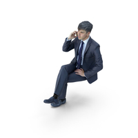 Business Man Sitting with Phone PNG & PSD Images