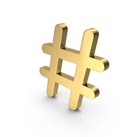 Hashtag Gold PNG & PSD Images