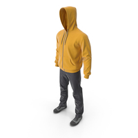 Men's Casual Clothes Yellow Hood PNG & PSD Images