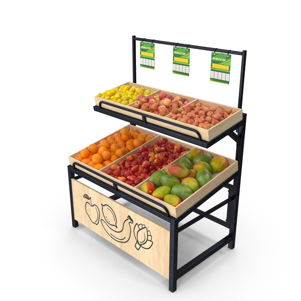 Wooden Display Rack with Fruits PNG & PSD Images