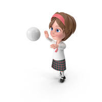 Cartoon Girl Meghan Playing Volleyball PNG & PSD Images