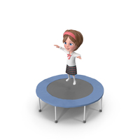 Cartoon Girl Meghan Jumping On Trampoline PNG & PSD Images